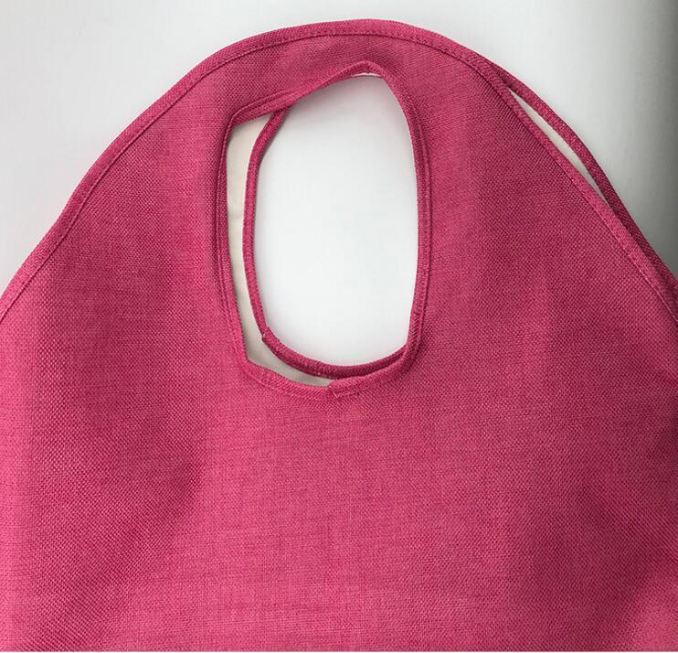 Yeni-3 Renkler Jüt Plaj Bez Büyük Kadın Big Boy Alışveriş Çantası Depolama Bagaj Çanta