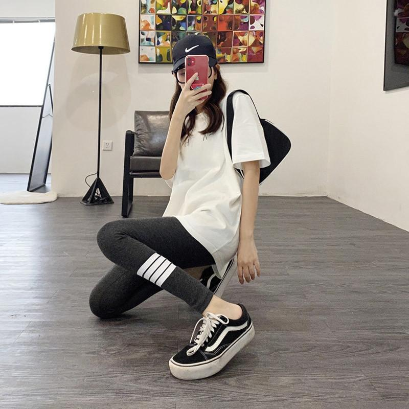 XNWN2 8G8B3 2020 apretada nueva capa del verano pantalones de las polainas del estilo apretado pantsKorean cintura pies de adelgazamiento de las altas mujeres de desgaste exterior se extienden de ajuste estrecho ma