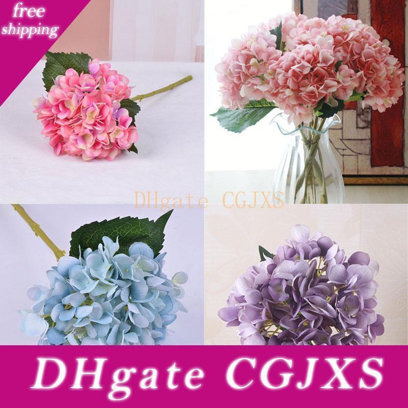 Artificielle Hydrangea Corolle 47cm Faux Silk Simple Real Touch Hydrangeas16 Couleurs pour le mariage Accueil Centerpieces Party fleurs décoratives