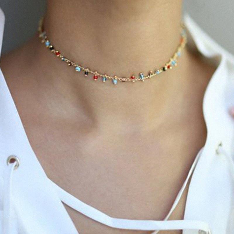 Bohemian ручной работы бусы Choker ожерелье Tassel цвет конфета шарик короткая цепь ожерелье для женщин Моды ювелирных подарков ovTb #