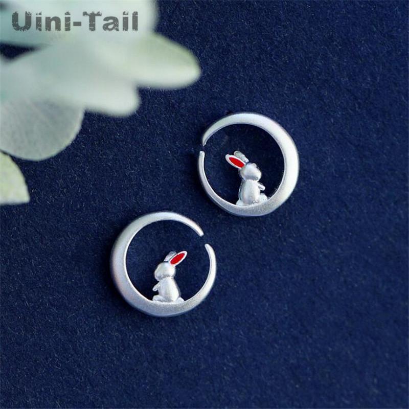Uini-Tail hot new 925 sterling silver moon earrings fresh and lovely sweet tide flow white student earrings ED575