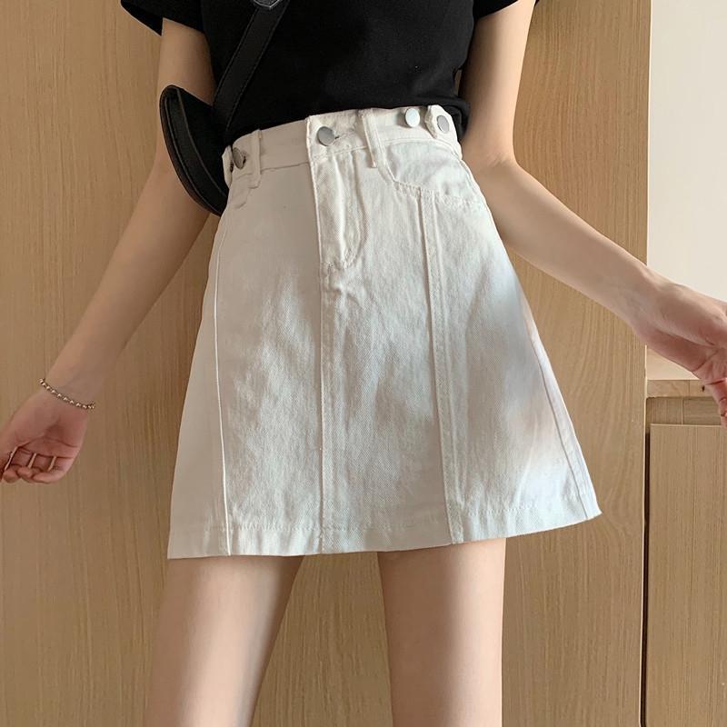 9BQqG Güzel 2020 Yaz yeni kadın etek elbise kot giyim yüksek tarzı geniş Koreli bel moda bacak gündelik A- çizgi elbise DE hepsi maç