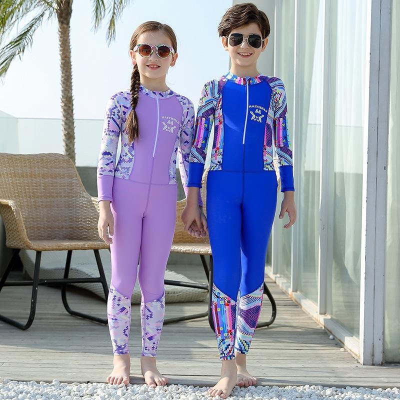 детские цельная ВС-доказательство 2019 мальчиков и девочек купальники Теплый купальник купальник быстросохнущая купальники теплый дышащий QwUmC