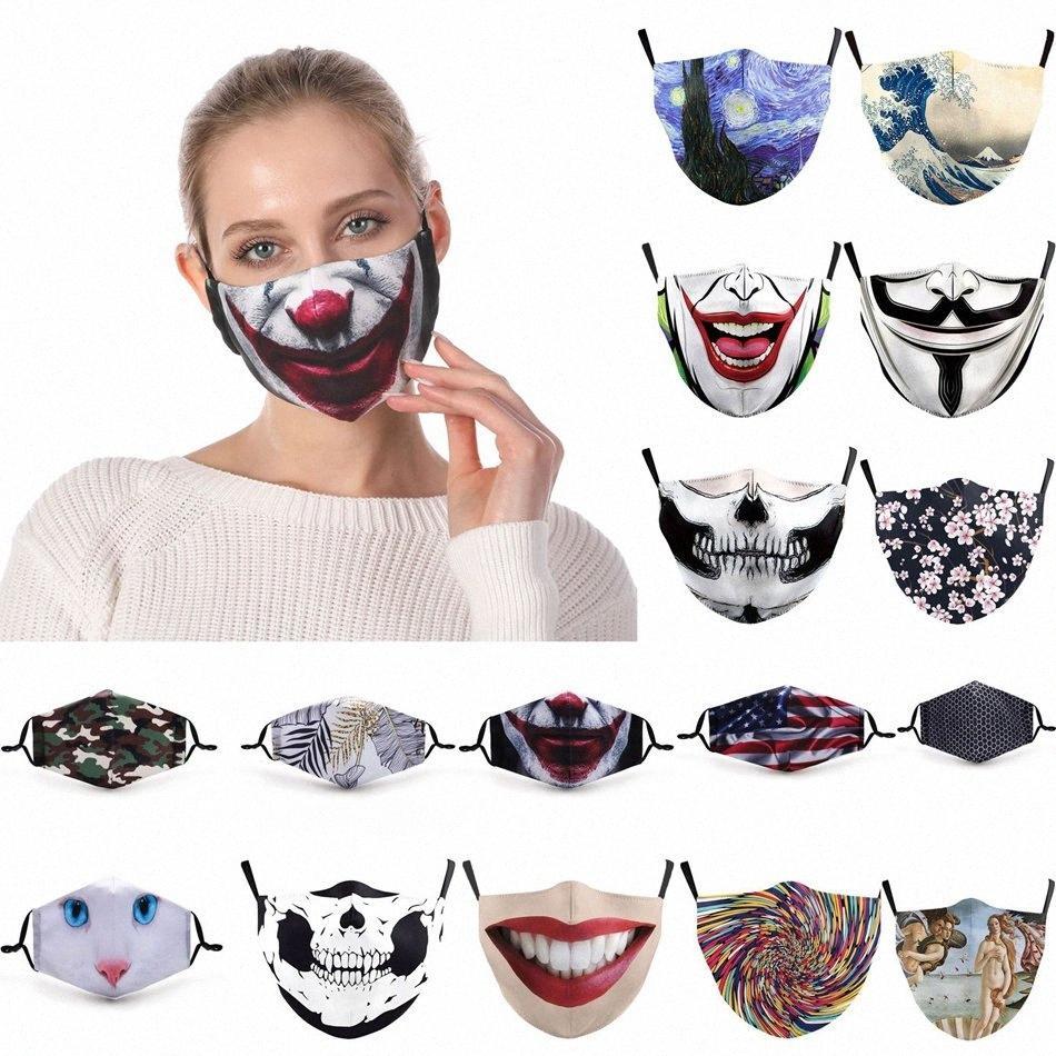 3D imprimé masque facial Hanging oreille étanche à la poussière extérieure Masque respirant lavable réutilisable réglable Avec filtre des masques de protection LJJP108 6SIP #