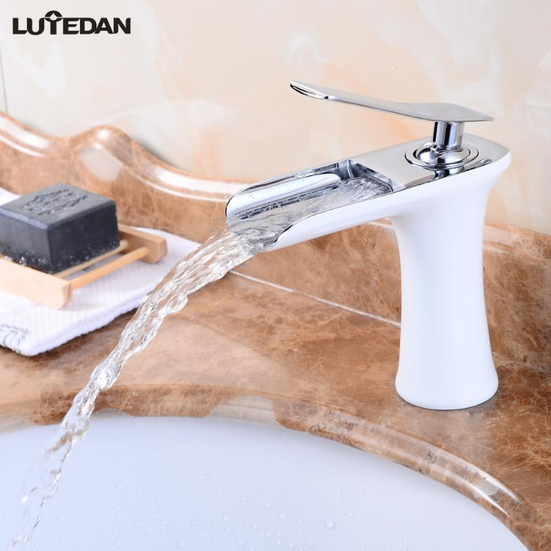 Lutedan Basin Faucets Waterfall Bathroom Faucet Single Hole Cold and Hot Water Tap Basin Faucet Mixer Taps