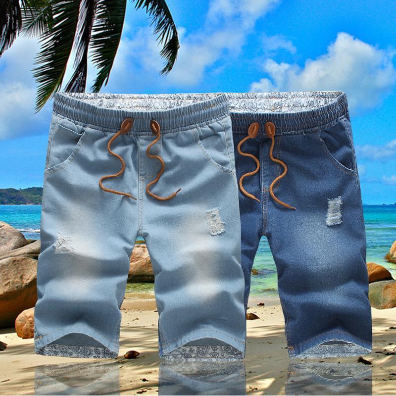 Jeans Menores Verano Estirar Corto 2021 Moda Casual Casual Slim Fit High Calidad Elástica Denim Shorts Masculino