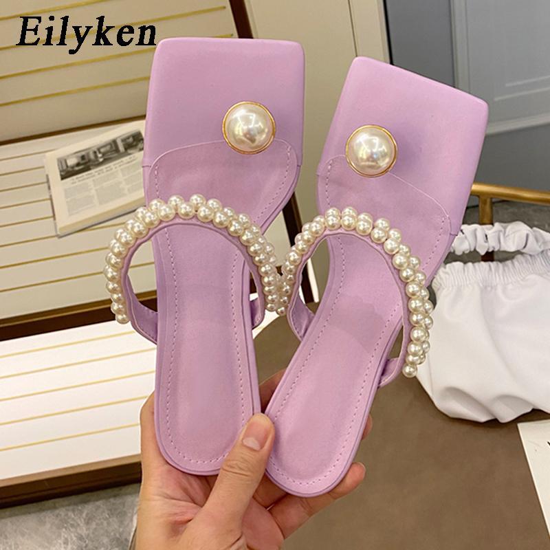 Eilyken Элегантный площади Toe женщины платье обувь Мода Низкие каблуки Тапочки женские Новый дизайн Pearl Струнные бисера ремешок сандалии