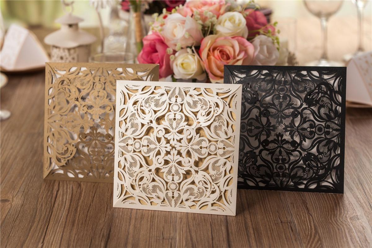 20pcs place Laser Cut mariage carte d'invitation, fête d'anniversaire de Quinceanera cadeau Carte de voeux avec enveloppe (or, ivoire, noir)