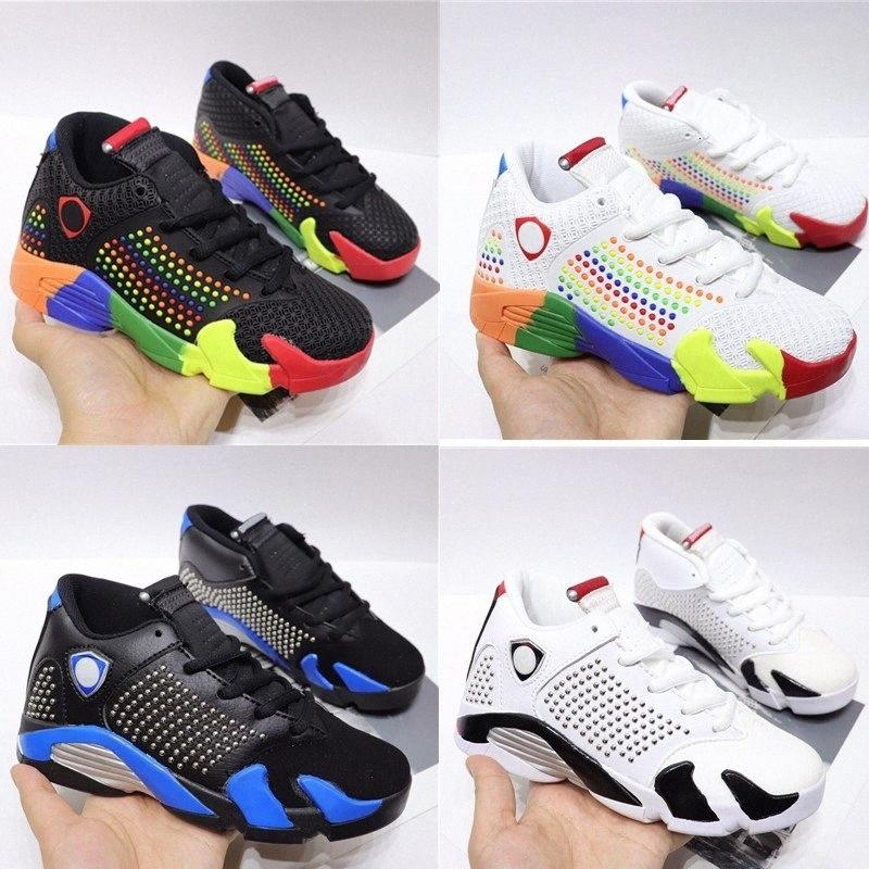 Bebek Xiv 14s Çocuk Basket Ayakkabısı Beyaz Üniversitesi Kırmızı Sneakers Siyah Varsity Kraliyet Krom Çocuk Boy Kız Eğitmenler Rr2q #