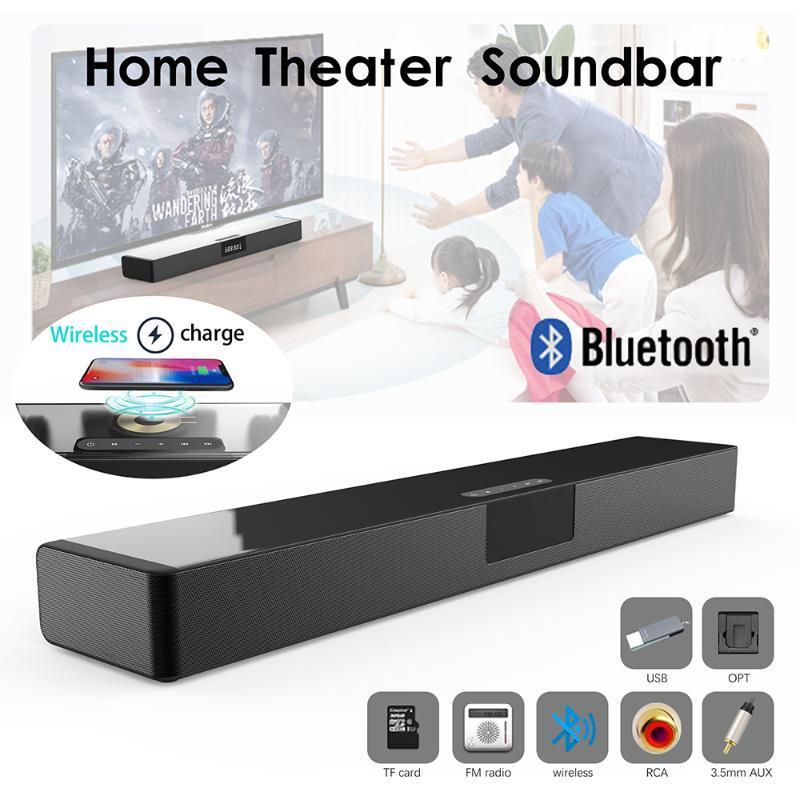 40W de cine en casa inalámbrico de televisión barra de sonido con subwoofer Altavoz Bluetooth estéreo para el teléfono inalámbrico de carga TF tarjeta de barra de sonido
