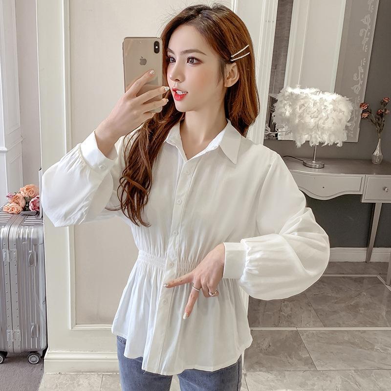 Xiaoyangjia femmes à la mode Top Vêtements » shirt 2020 début de l'automne nouvelle taille de style coréen minceur tout-match au sommet de chemise à manches longues pour les femmes