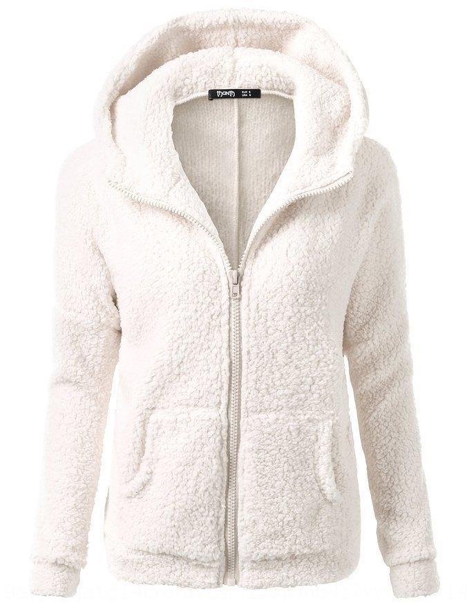 2019 venda quente cor sólida casaco de capuz de pelúcia casaco de inverno de moda feminina camisola camisola das mulheres