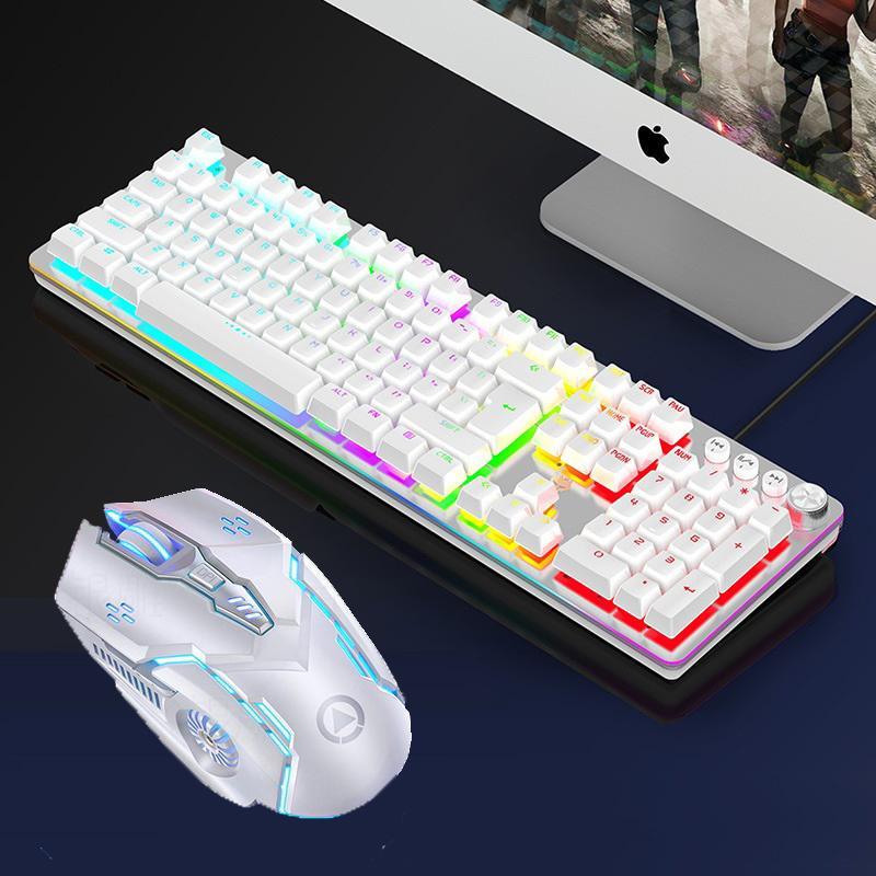 Gaming Ensemble clavier souris clavier mécanique avec commutateur Green 104 Keycaps 3200dpi Gaming Mouse filaire Souris USB