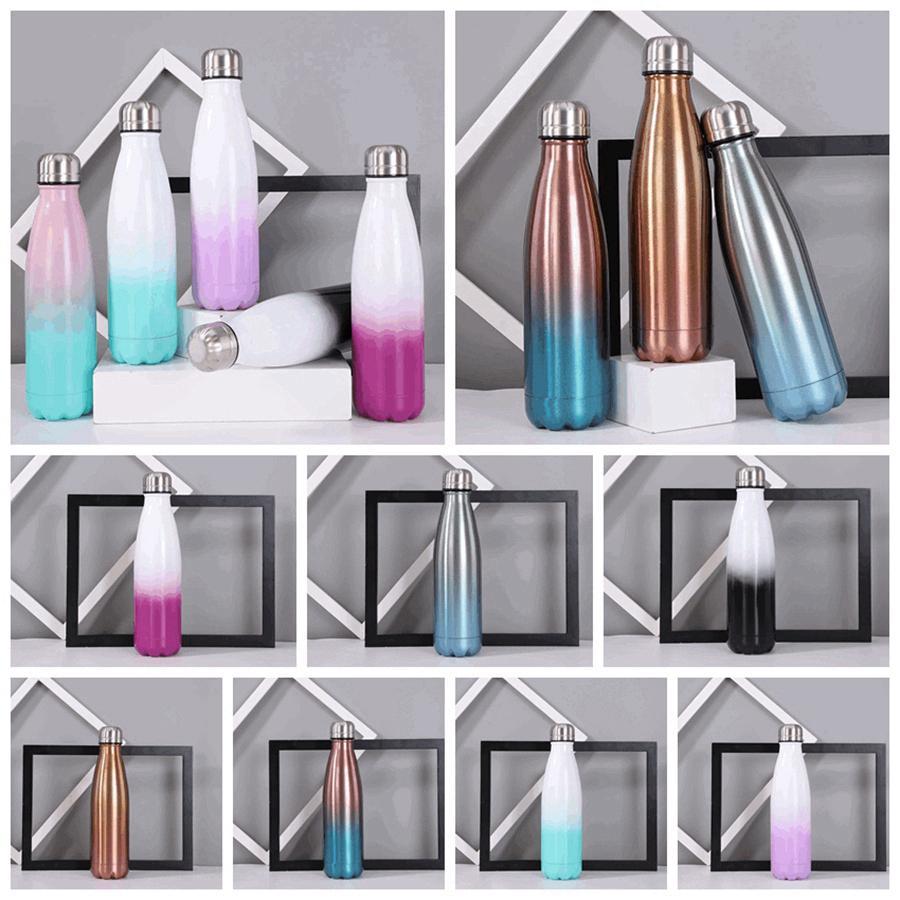 Gradyan Renk 500ml Paslanmaz Çelik Cola Şişeleri Renkli Çift duvarlı İzoleli Termos R3399 ile 8 Renkler 17oz Cola Şeklinde Su Şişesi