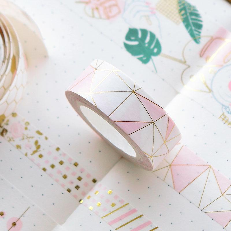 Розовый Васи ленты золотой фольги Клейкая лента Скрапбукинг клей Украшение бумаги 2016
