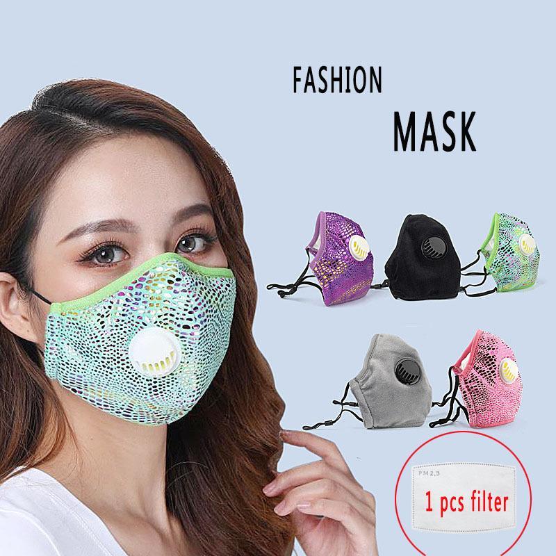 Masques de mode pour femmes 2020 Nouveau bling bling débarbouillette masque avec 2 filtres anti-poussière Masque respirant lavable réutilisable