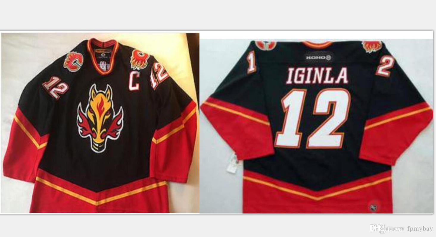 Los hombres rara vendimia bordado lleno verdadero # 12 Jarome Iginla Calgary Flames Hockey Vintage Jersey Tamaño s-5XL o costumbre cualquier nombre o el número del jersey