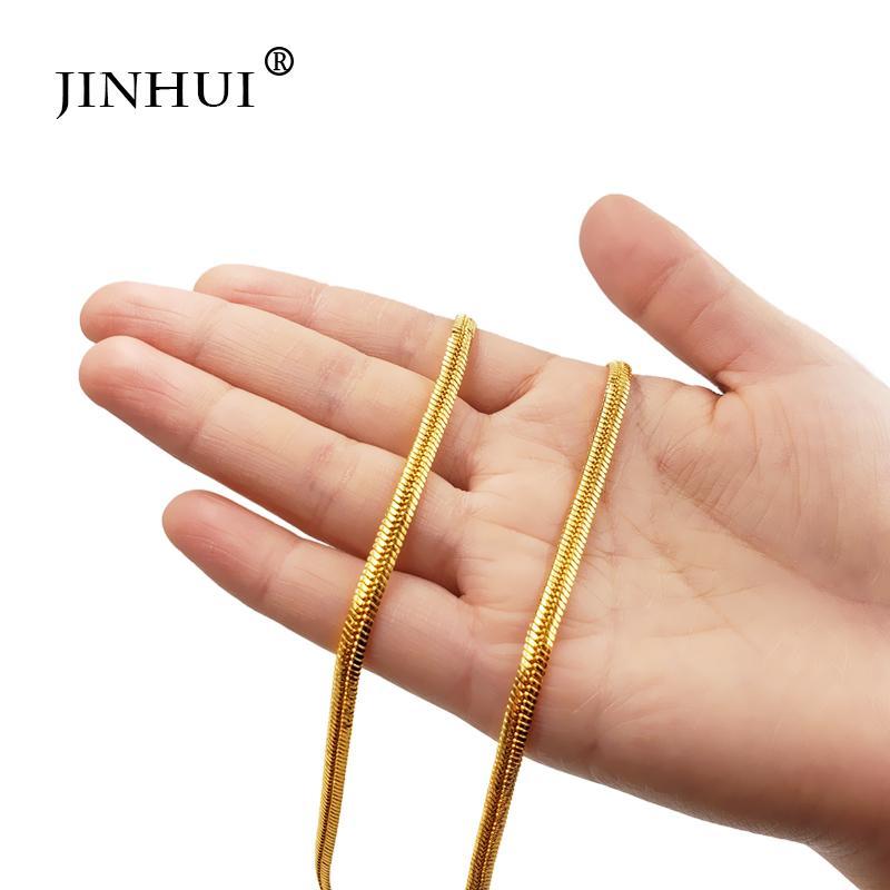 Длина Дубай Модный золотой цвет ожерелья Boy 50см ширина 4 мм цепь Мужчины ожерелье Саудовская Аравия женщины друзей подарочные звеньевые цепи