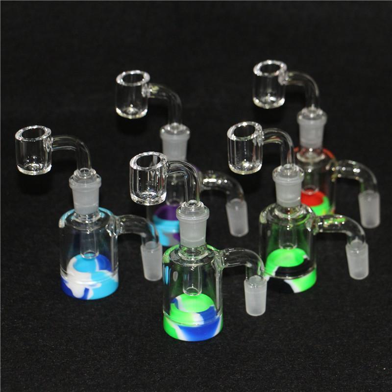 Cachimbas de vidrio Recuperación de vidrio de 14 mm 18 mm hembra masculina 45 90 con adaptador receptor de ceniza de recuperación para bongs de agua Plataformas DAB