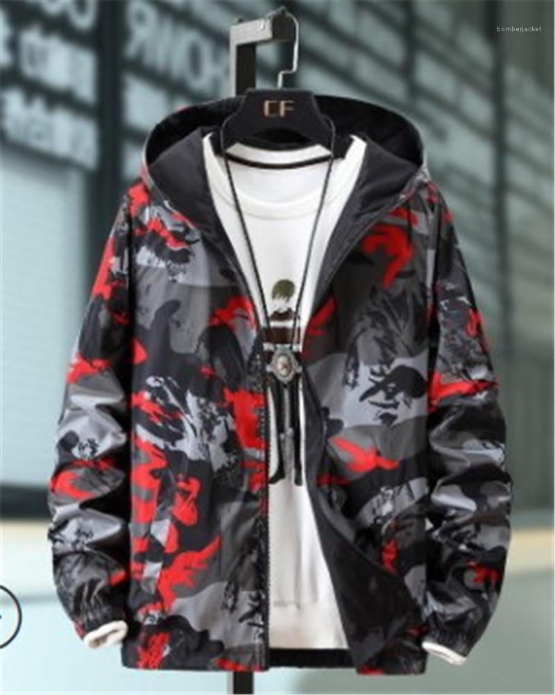 Farbe Jacke Mens Fashion Tarnaufdruck Jacken Langärmlig Stehkragen mit Kapuze Mäntel Reißverschluss-Tasche Kontrast