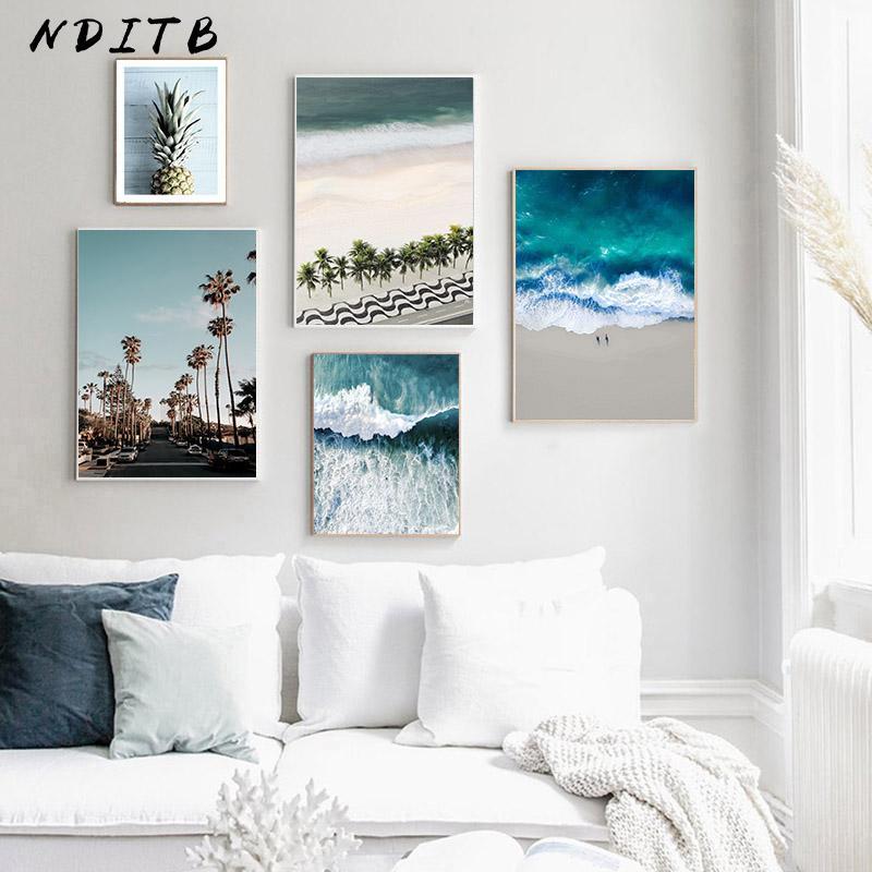 Imprimir escandinavo decoração Imagem Wall Art Poster ondas do Mar Praia Canvas Pintura de paisagem nórdica Sala Decor
