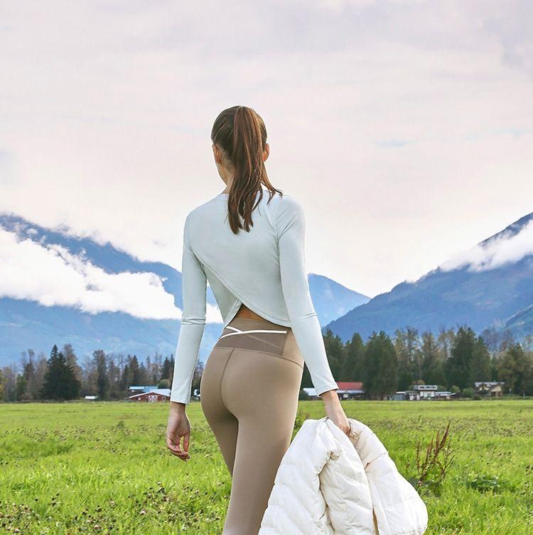 de manga larga de la yoga largo de adelgazamiento LdtHq línea celebridad ropa de yoga de las mujeres cómodas encabeza correr entrenamiento deportivo traje de profesionales OkO7w