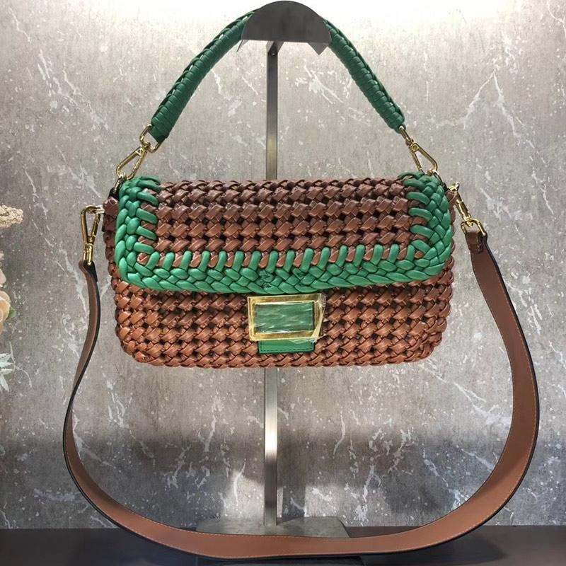 Patwork Woven Women Baguette Bags Genuine Leather F letter Crossbody Bag Detachable Handle shoulder Strap Bags megnetic buckle Wallet Pocket