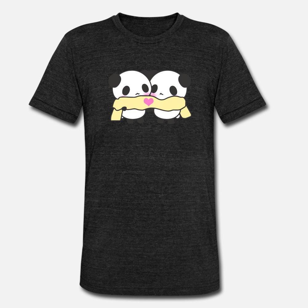 милые каваи панды шарф сердце любовь тенниска мужчины напечатаны с коротким рукавом O шеи Мужская Sunlight Аутентичные Летний стиль тонкий рубашка