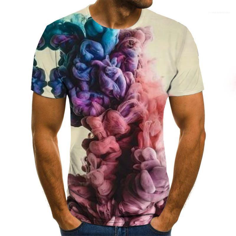 Tops Homme Bekleidung Sommer Mens 3D-T-Shirt beiläufiges O Ansatz Kurzschluss-Hülsen-lose Pullover T-Shirt neuer Mens-Sommer