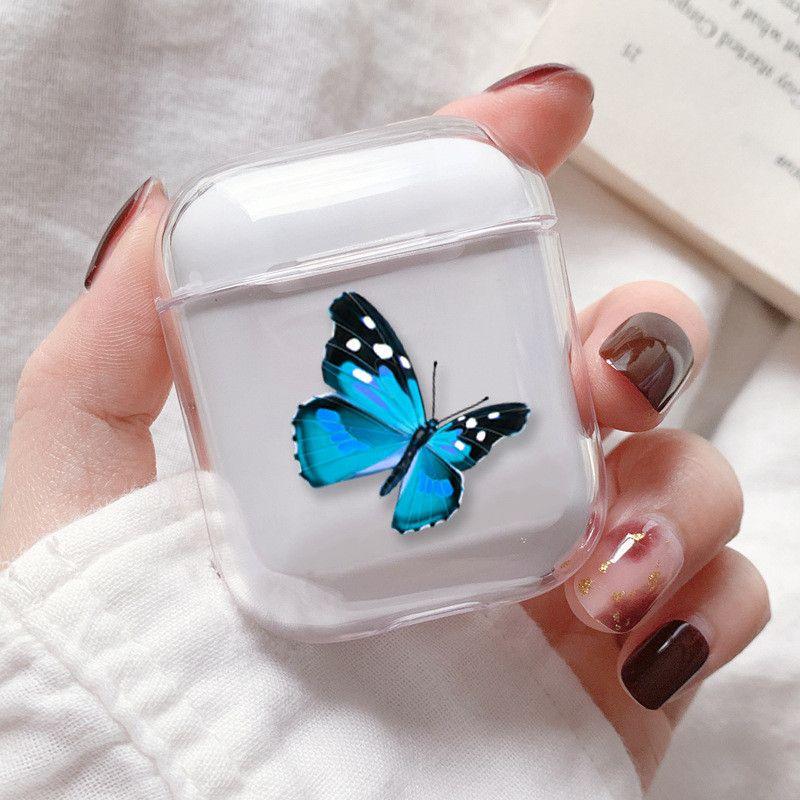 Casos rosa bonito borboleta azul de ouvido para Airpods 2 1 Clear Case macia capa de silicone para Apple Wireless fone de ouvido Bluetooth