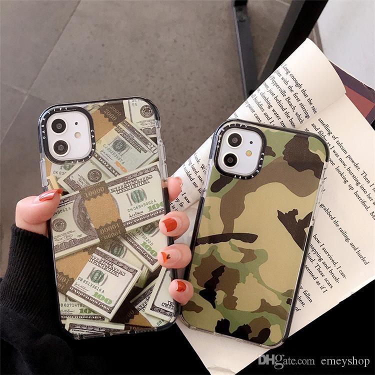 Designer padrão de camuflagem dólar Etiqueta caso rótulo telefone para iPhone 11 Pro X XS MAX 7 8 6 mais suave silicone tampa transparente para iphone 11