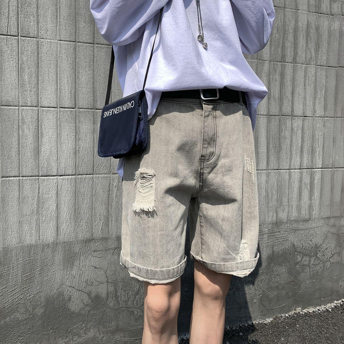 y8s3p 61kXP riss Sommer neue gerade lose beiläufige Allgleiches trendy und 2020 Herren-Jeans-Shorts Tages Shorts
