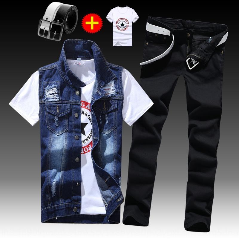 p0Qer Primavera e magro na moda casaco moda calças roupas masculinas verão atender uma jaqueta jeans da moda casaco colete belo-coreano de colete