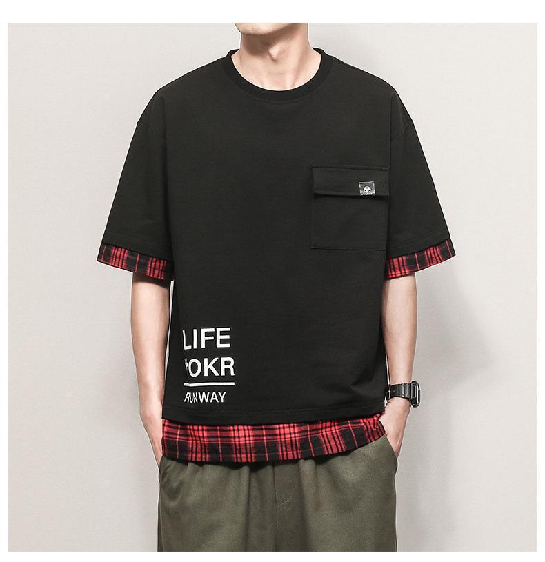 Casual Gevşek Tişört Erkek Yaz Ekose Dikiş Tişört Hayvan Baskı Letter Desen Moda Trend Tees Erkek