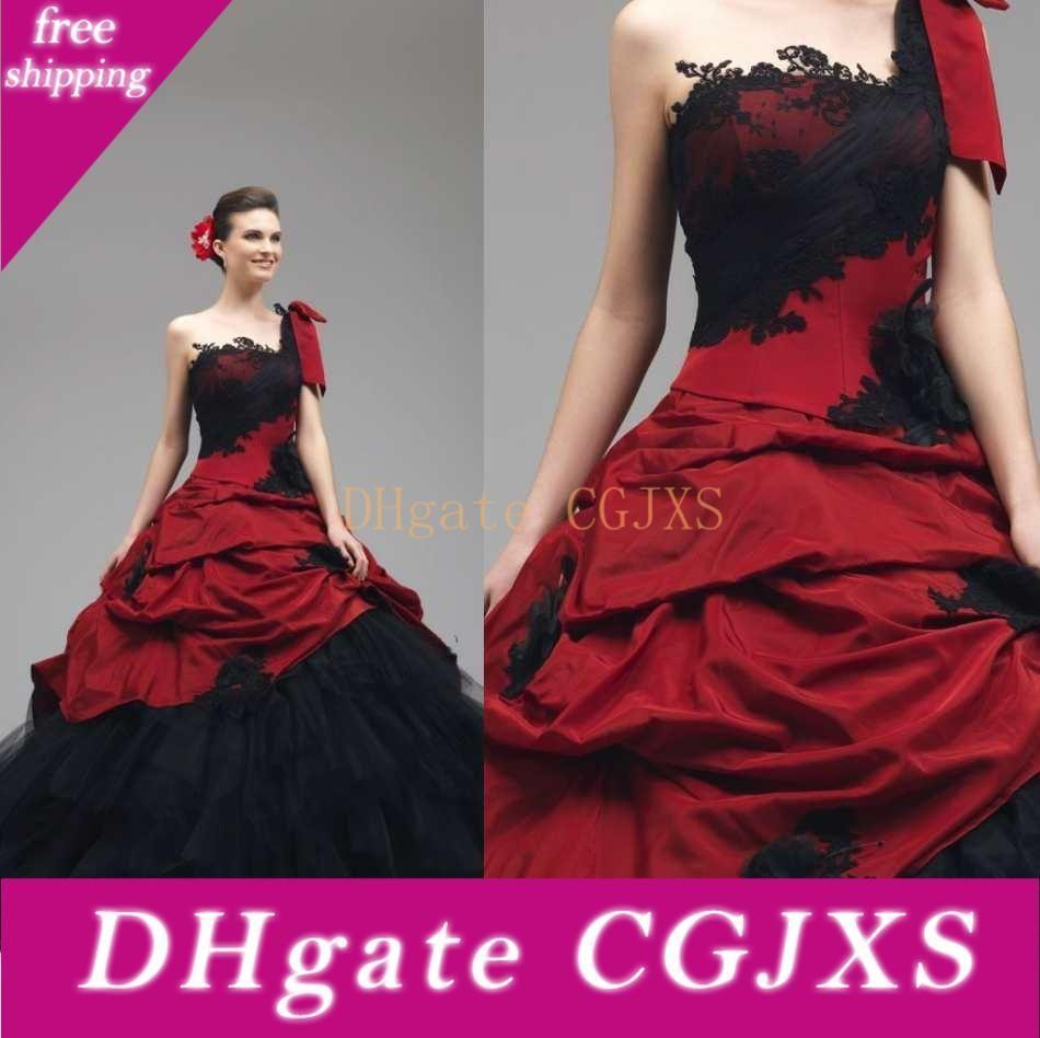 2018 Gothic Rosso e abiti da sposa nero abito di sfera del corsetto posteriore Cascading Ruffles Abiti da sposa abito da sposa d'epoca una spalla di stile