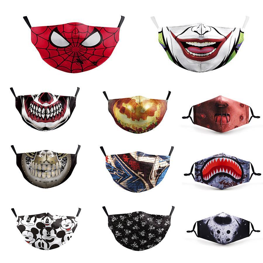 Máscaras Designer Cara da forma Impressão Máscara Clown Face ao ar livre Dustproof Ciclismo Máscara respirável Lips Máscaras Crânio Vendetta cara