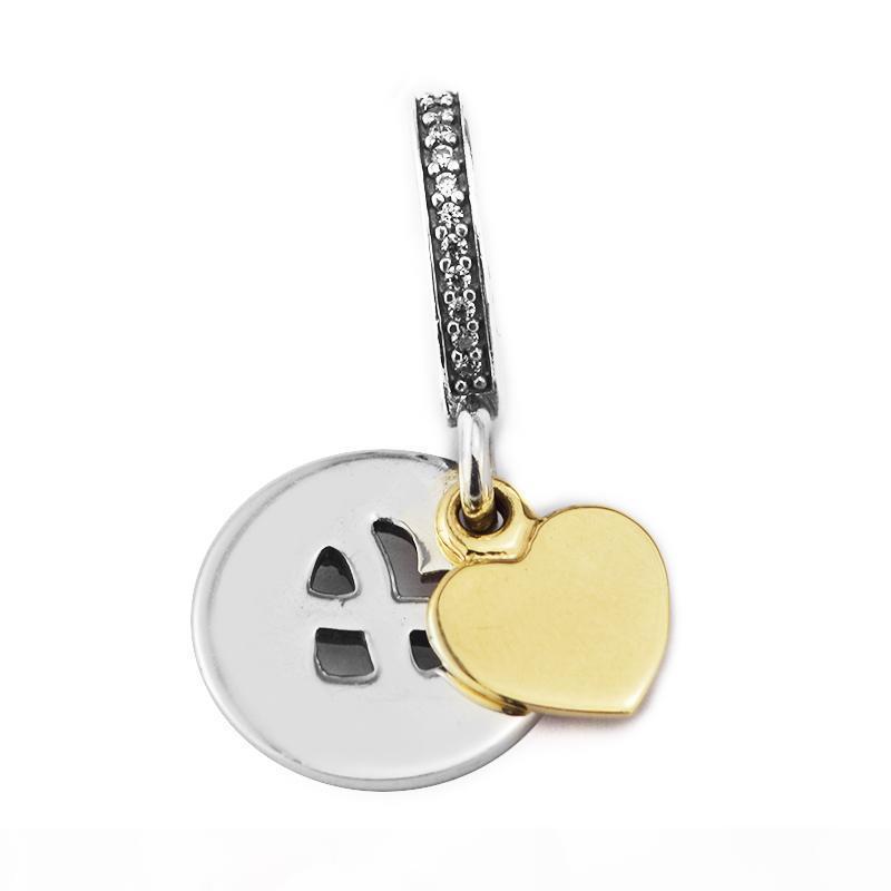 Pandulaso Corazón de Infinity gotea encanto de CZ transparente cuelga Para fabricación de la joyería caben las pulseras de Pandora Mujer Collar de bricolaje fabricación de joyas