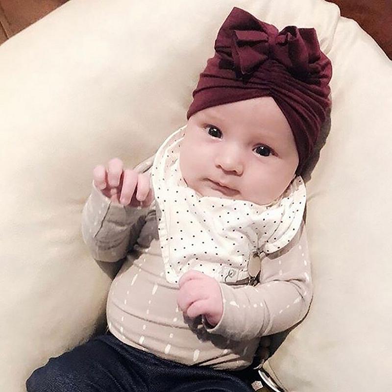 2020 9 Renkler Sevimli Bebek Yürüyor Unisex Bow Knot Hint Turban Cap Çocuk Modal Pamuk Bebek Donut Şapka Katı Renk Hairband Cap Caps