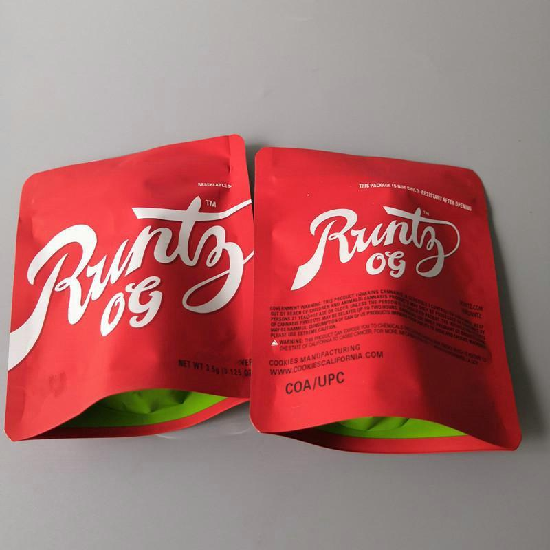 Flor Bolsa Zipper Mylar Childproof Package seco Biscoitos Resealable Califórnia para sacos 35g 28gram Vape cartucho da embalagem de Herb Runtz flENC