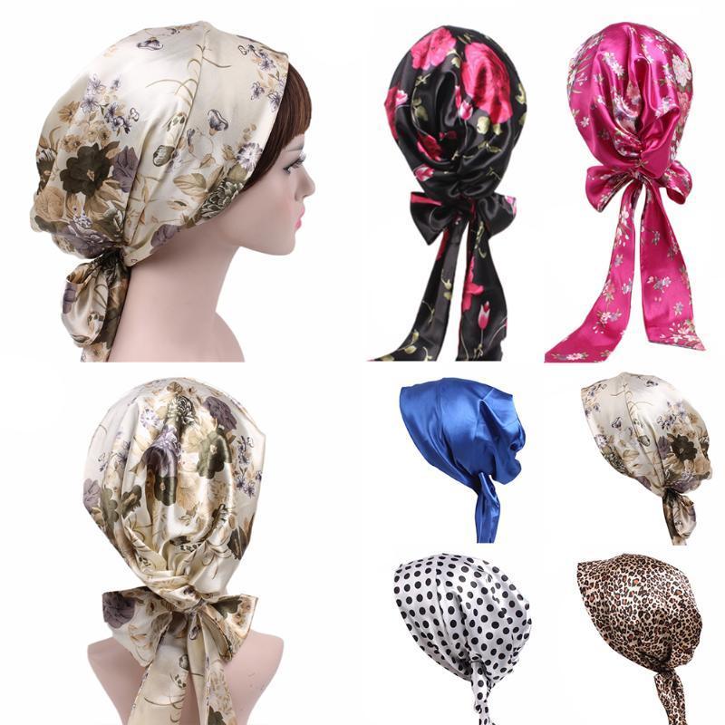 1pc raso Imprimir accesorios del sueño del pelo de DIY Serpentinas arco floral leopardo Dot Sombrero nueva seda larga cola Chemo del turbante de la venta caliente