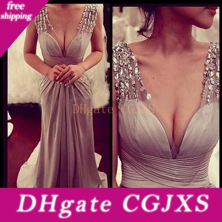 2017 Lunghezza Glamorous Scollo a V in rilievo Prom Dresses chiffon pieghettato pavimento lucido partito sera delle donne Gowns