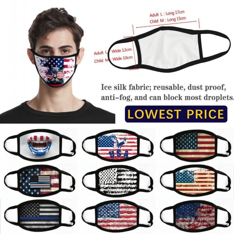 Em stock Moda EUA América Bandeira Eagle Imprimir Máscaras Lavável Algodão Máscaras Rosto Respirável Mulheres Homem Moda Máscara FY9120