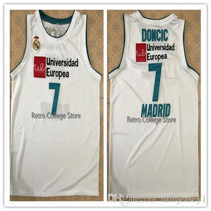 unicersidad Europea # 7 Луки Донсик мужской белой Була Баскетбол Джерси Вышивка прошитый Настроить любое имя и имя XS-6XL жилета Jerse