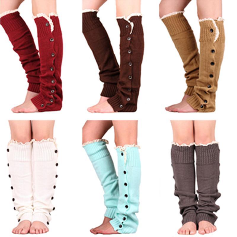 Aqueça Botões de malha Leg mangas Mulheres Lace polainas Knitting Guarda Perna de inicialização punhos longos Socks Meias pé quente Sapatinho luva E9102