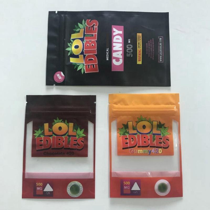2020 Nuovo imballaggio commestibile LOL Mylar Bags Medibles Edibles Packaging Gummy Chocolate Cioccolato 420 Borse Mylar a prova di caramelle Borse a base di erba secca Zip Block Block