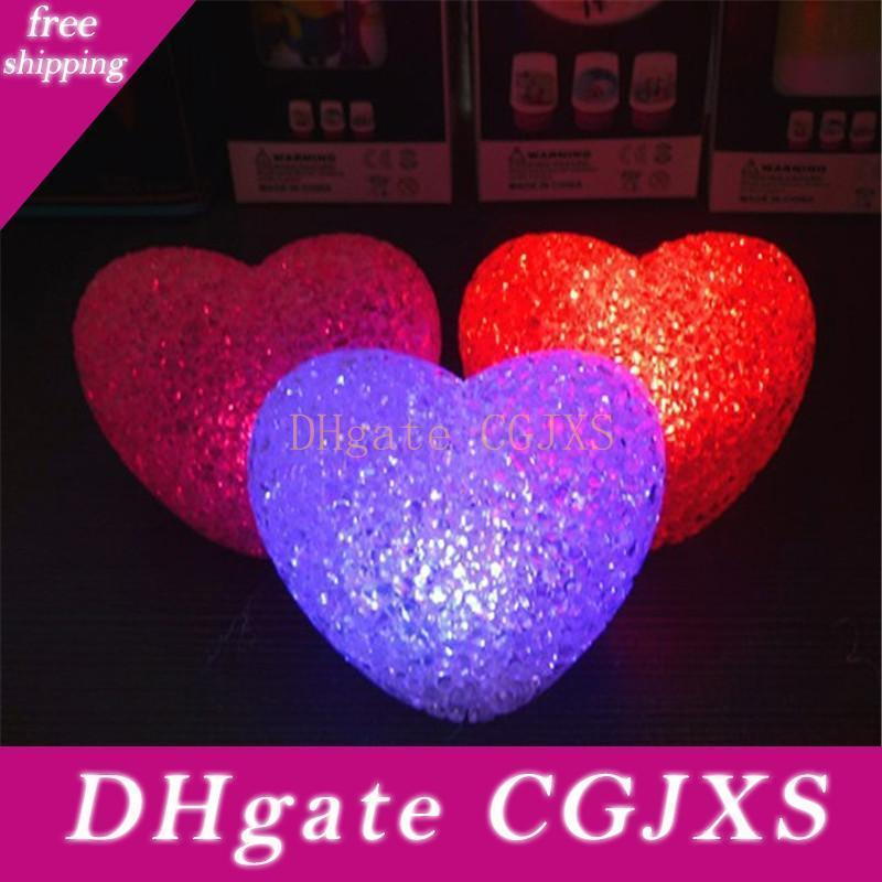 12cm New Led Heart -Shaped Colorful Lights Kids Toys Crystal Night Light Led Lamp With Battery For Christmas Holiday Gift H348