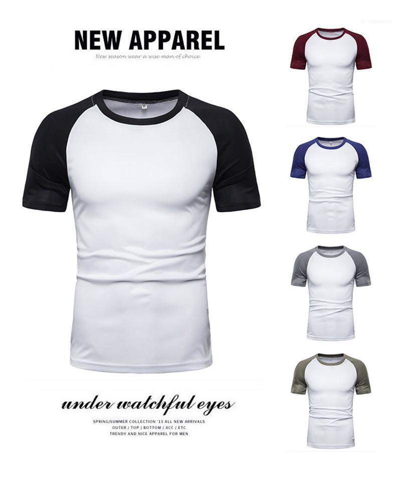 Mens лета Tshirts Дизайнер Щитовые цвета с коротким рукавом тройники Crew Neck естественный цвет вскользь Tshirts Мода