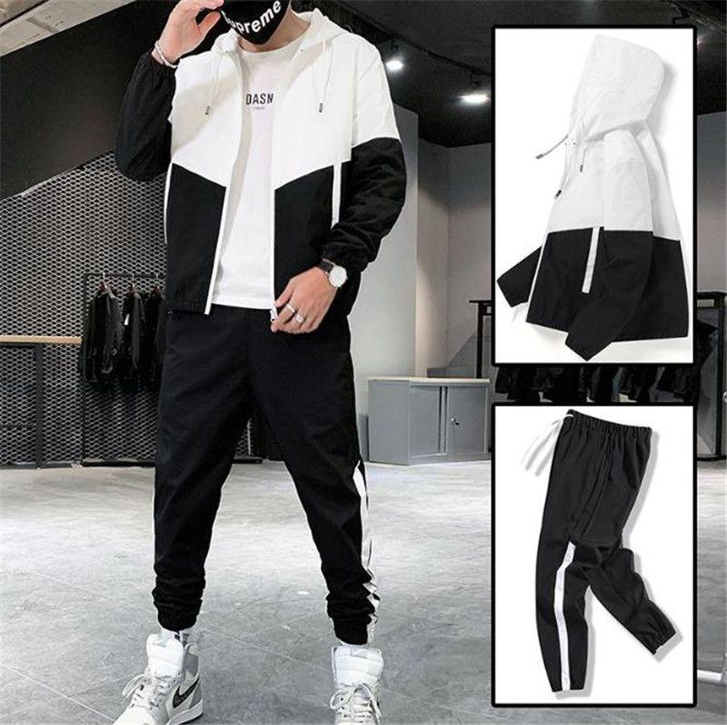 Sonbahar Yeni Erkekler Thersuits Sokak Stil Kontrast Renk Uzun Kollu Kapşonlu Hırka Pantolon Setleri Casual Erkekler Spor