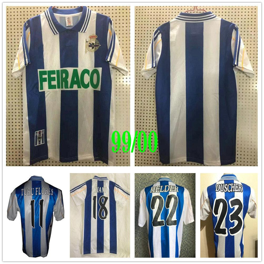 1999 2000 Retro Deportivo La Coruna Soccer Jerseys VALERON TURU FLORES PAULETA MAKAAY FERNANDO BITINHO 99 00 de La Coruña Football Shirt