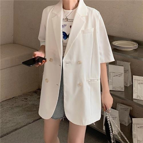 Lady Fox Small suit women's summer Korean style thin vertical casual suit sun-proof jacket jacket loose mid-length short sleeve